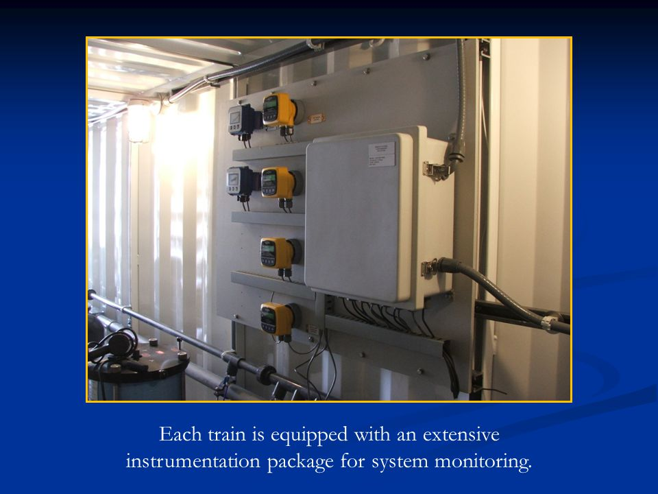 Each train is equipped with an extensive instrumentation package for system monitoring.