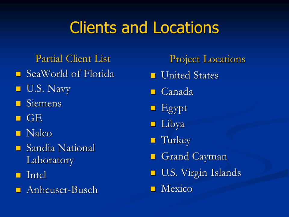 Clients and Locations Project Locations Partial Client List