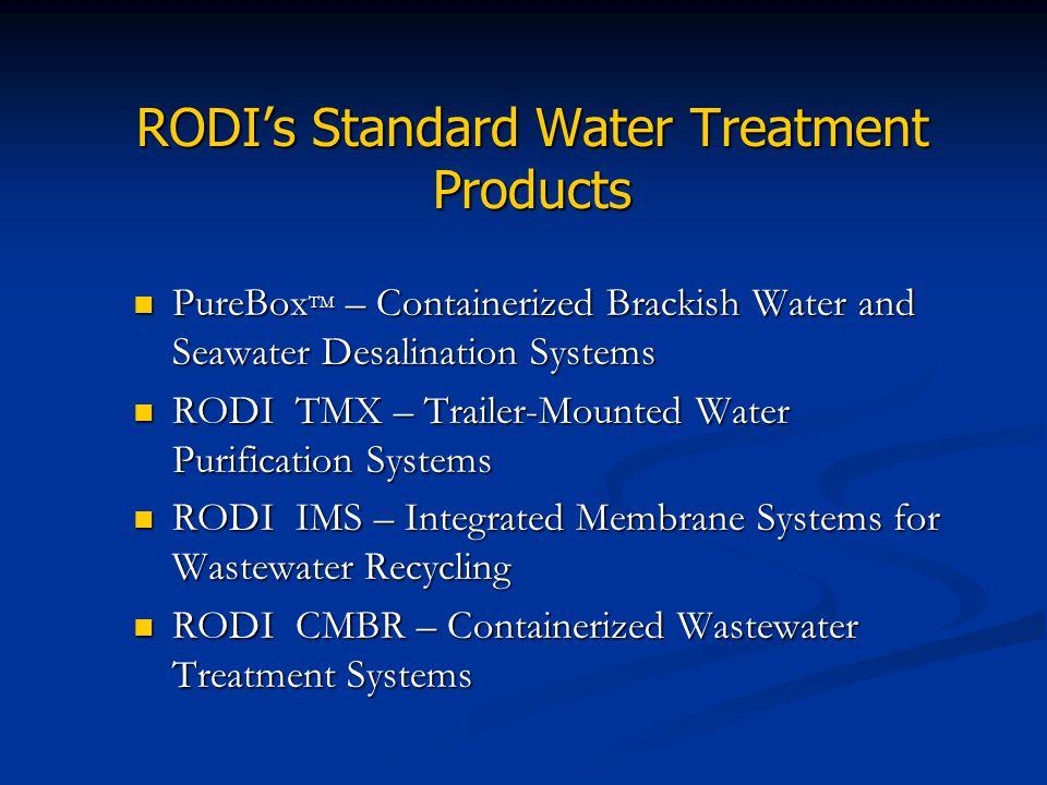 RODI's Standard Water Treatment Products