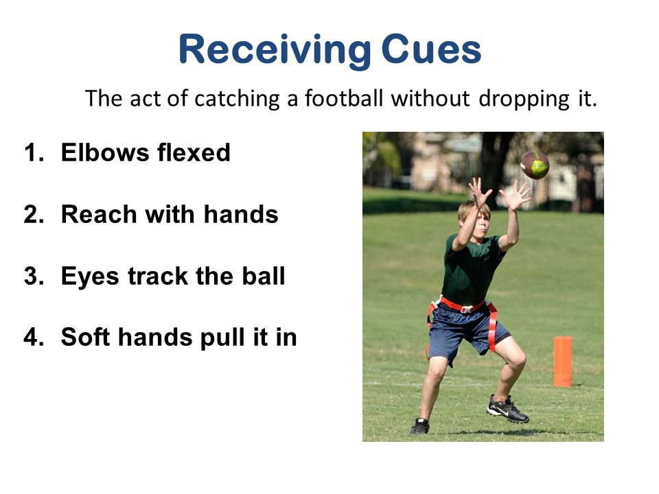 The act of catching a football without dropping it.