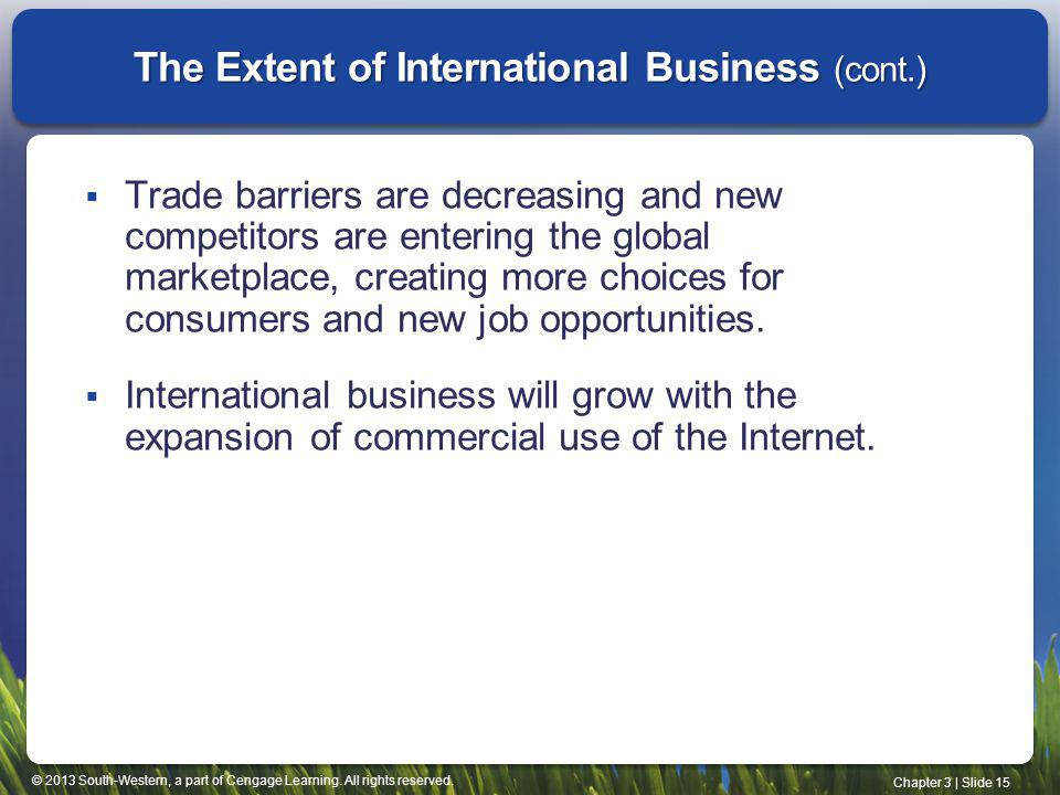 The Extent of International Business (cont.)