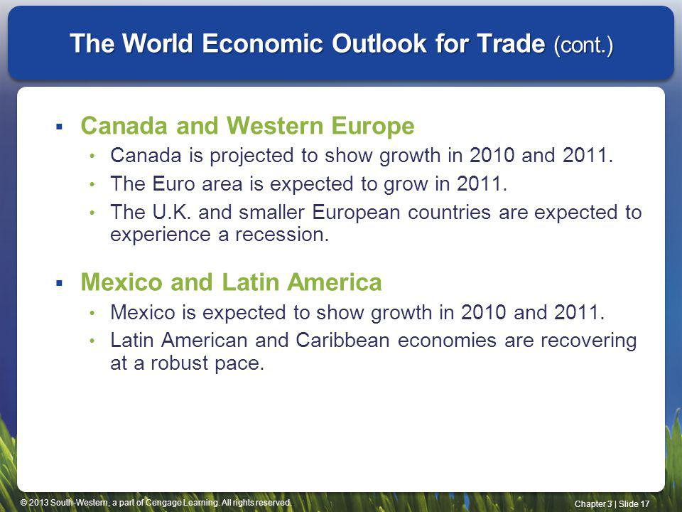 The World Economic Outlook for Trade (cont.)