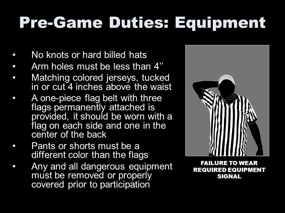 Pre-Game Duties: Equipment