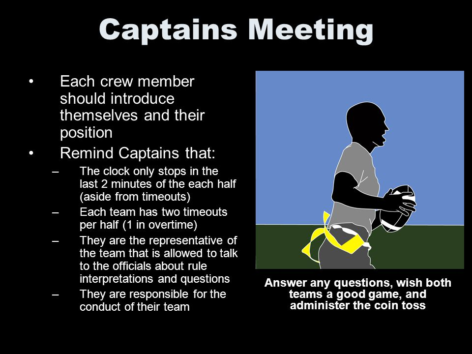 Captains Meeting Each crew member should introduce themselves and their position. Remind Captains that:
