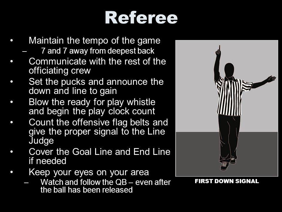 Referee Maintain the tempo of the game