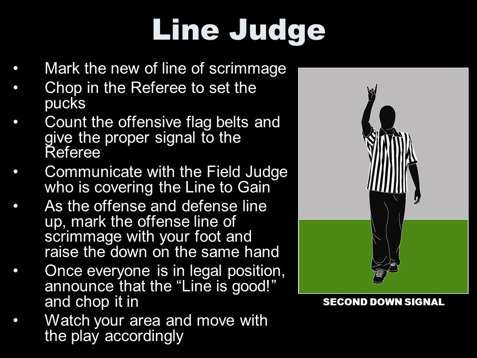 Line Judge Mark the new of line of scrimmage
