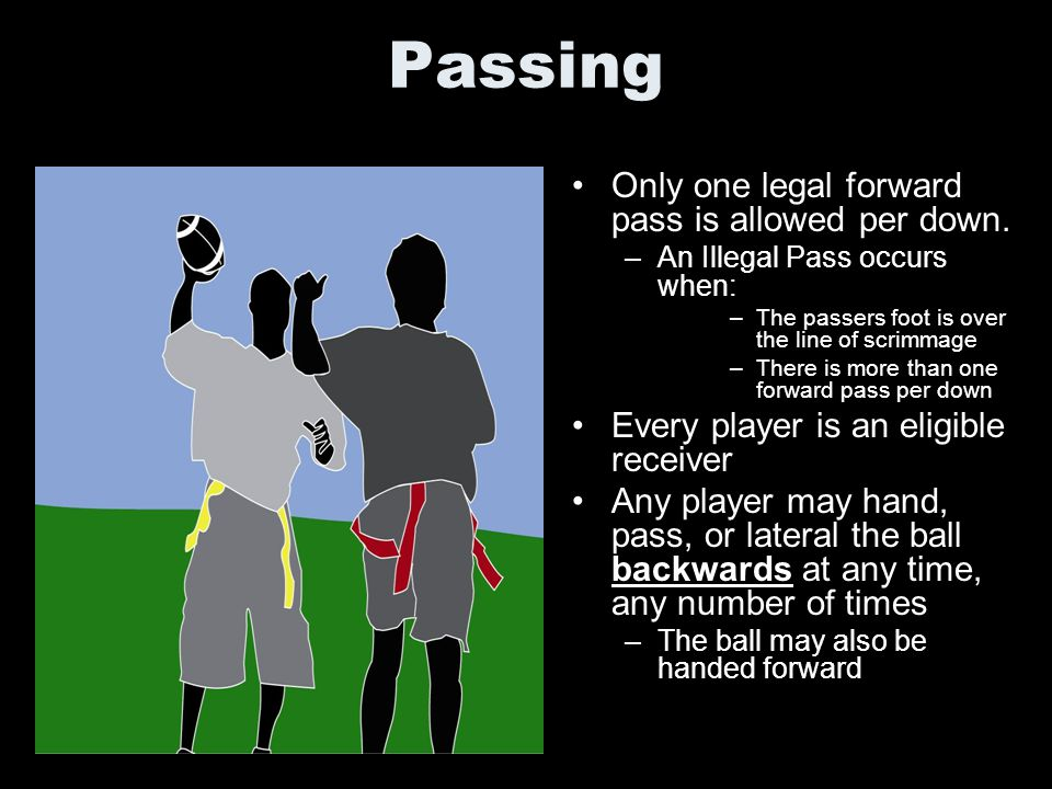 Passing Only one legal forward pass is allowed per down.