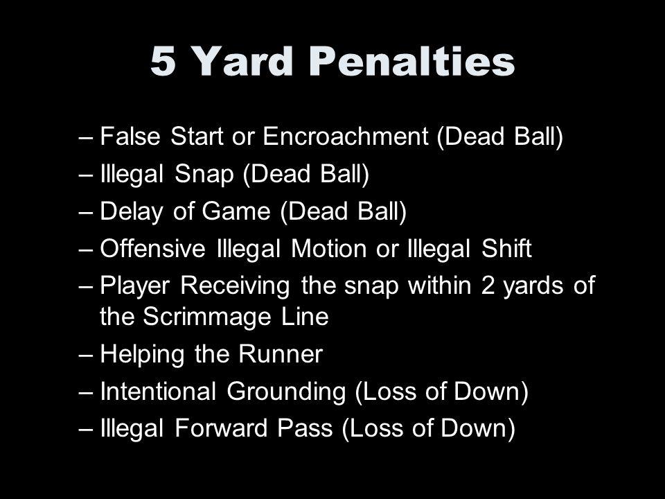 5 Yard Penalties False Start or Encroachment (Dead Ball)