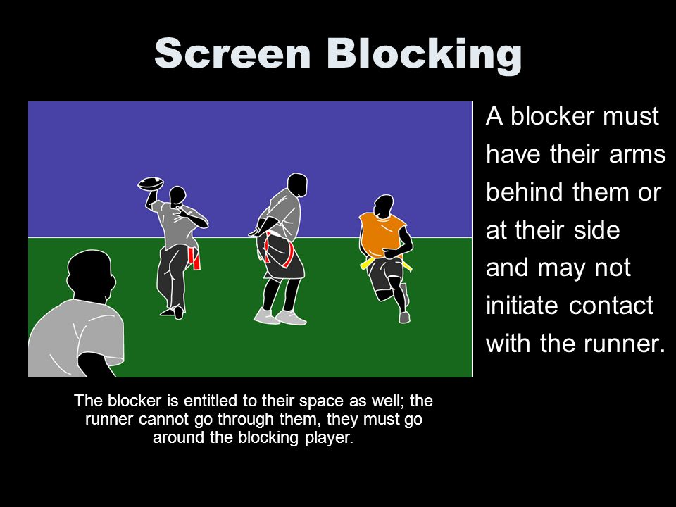Screen Blocking A blocker must have their arms behind them or