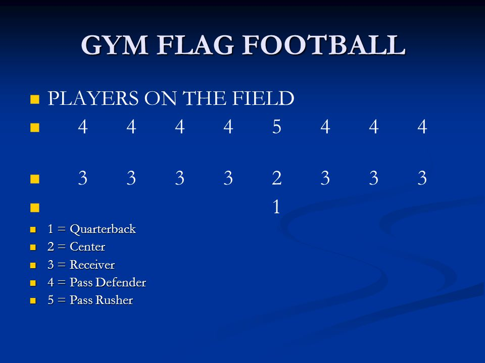 GYM FLAG FOOTBALL PLAYERS ON THE FIELD 4 4 4 4 5 4 4 4 3 3 3 3 2 3 3 3
