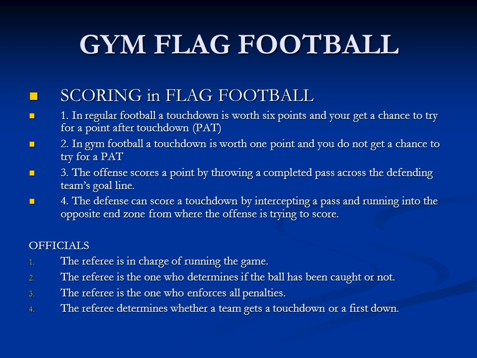 GYM FLAG FOOTBALL SCORING in FLAG FOOTBALL