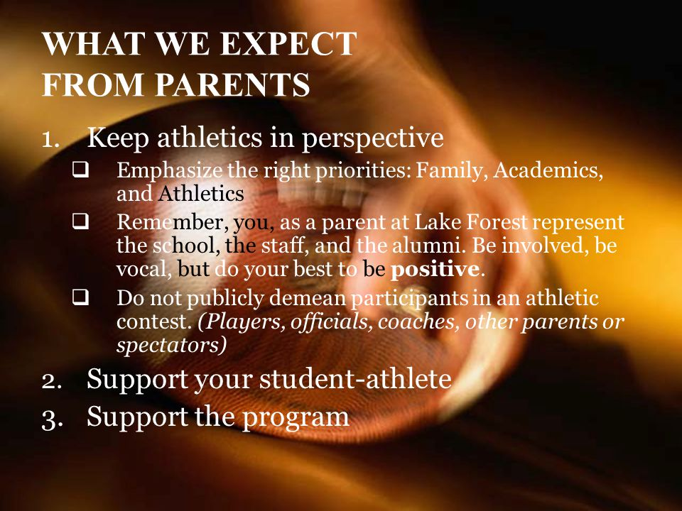 WHAT WE EXPECT FROM PARENTS