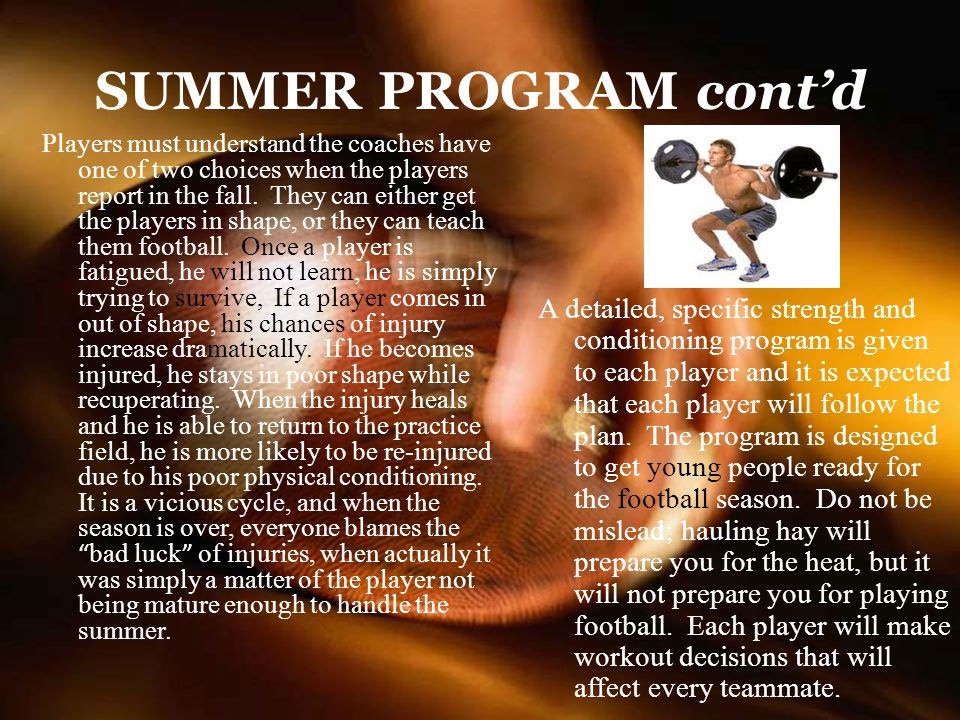 SUMMER PROGRAM cont'd