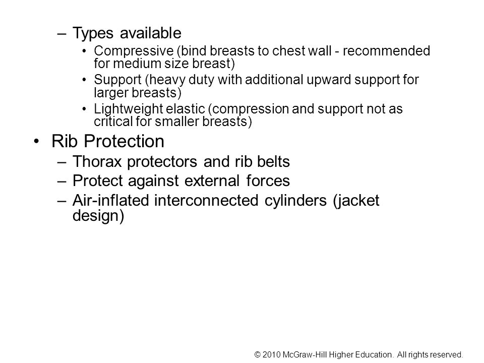 Rib Protection Types available Thorax protectors and rib belts