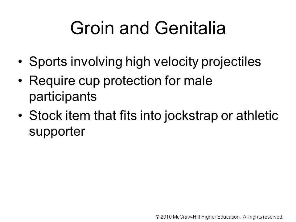 Groin and Genitalia Sports involving high velocity projectiles
