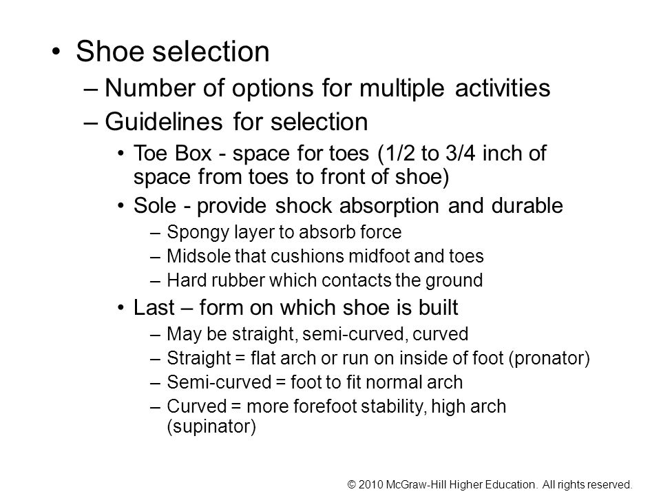 Shoe selection Number of options for multiple activities