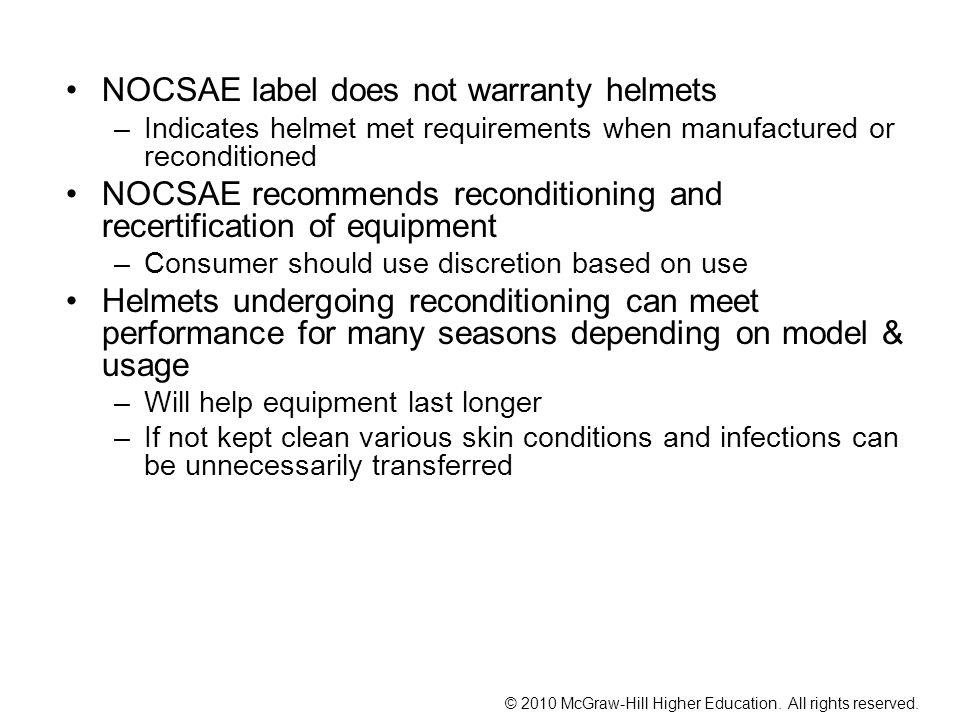 NOCSAE label does not warranty helmets