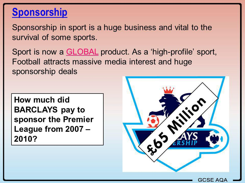 Sponsorship Sponsorship in sport is a huge business and vital to the survival of some sports.