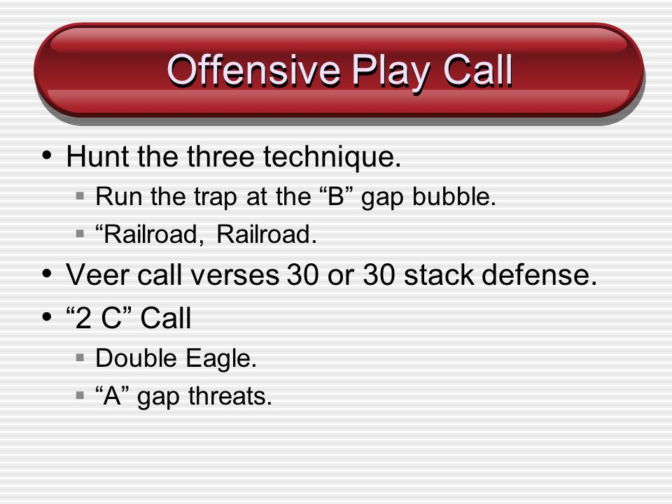 Offensive Play Call Hunt the three technique.