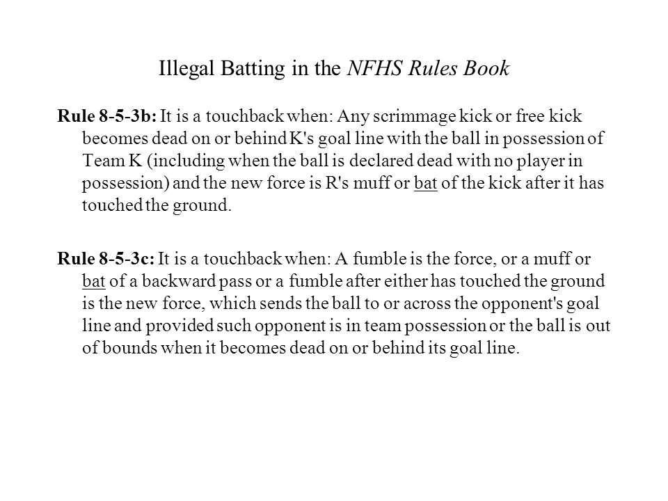 Illegal Batting in the NFHS Rules Book