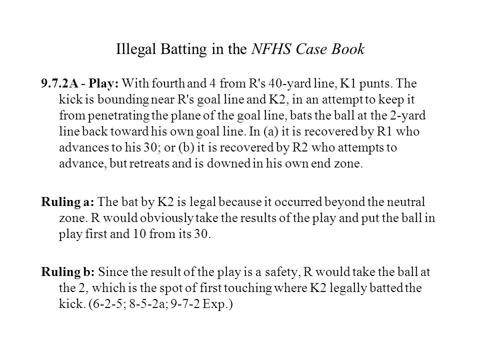 Illegal Batting in the NFHS Case Book