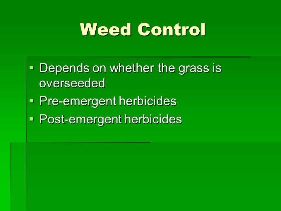 Weed Control Depends on whether the grass is overseeded