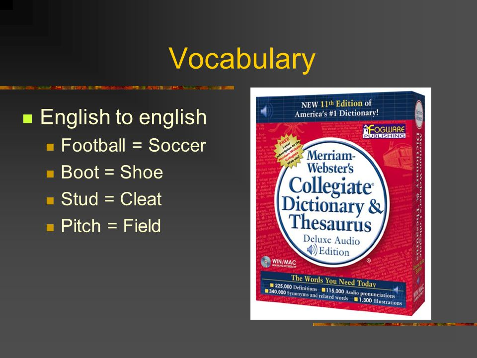 Vocabulary English to english Football = Soccer Boot = Shoe
