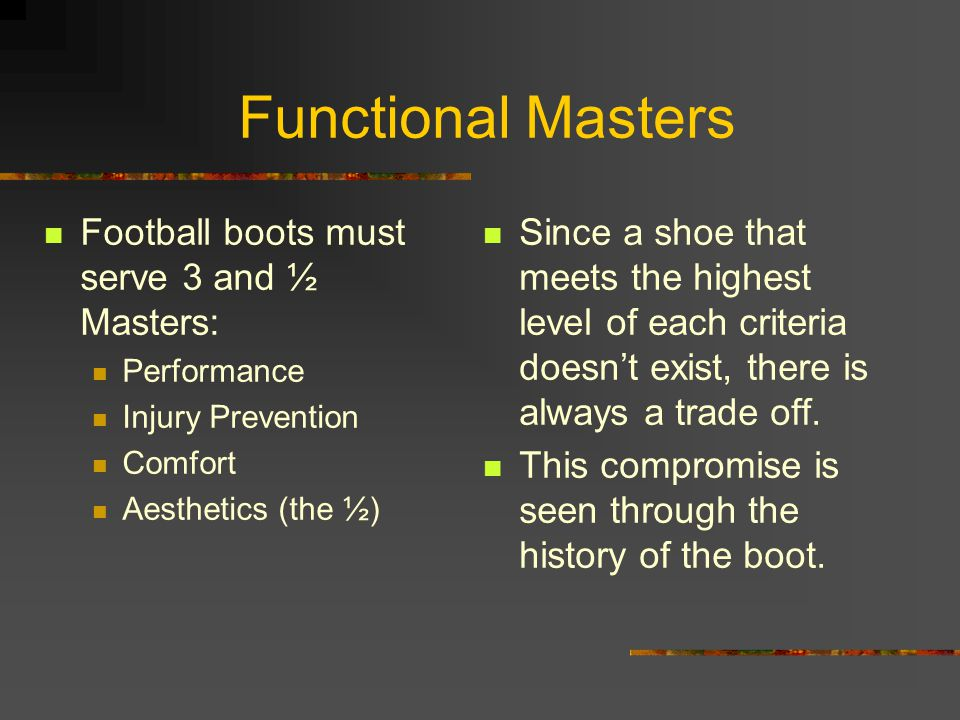 Functional Masters Football boots must serve 3 and ½ Masters: