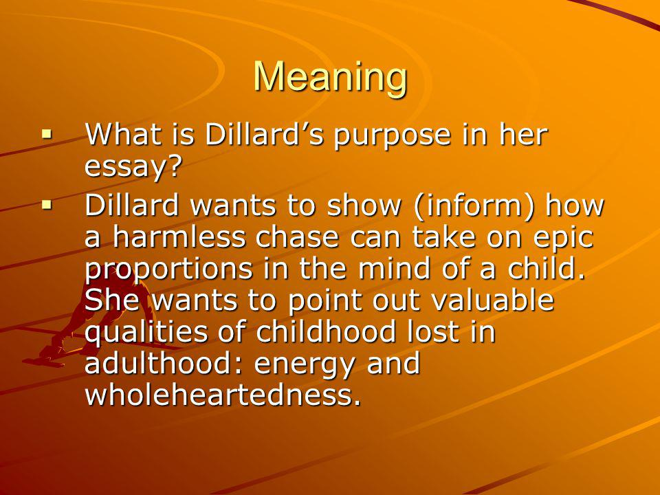 """essay question the chase dillard Name _____ """"the chase"""" question response evidence/paragraph number what is the organizational structure for this narrative."""