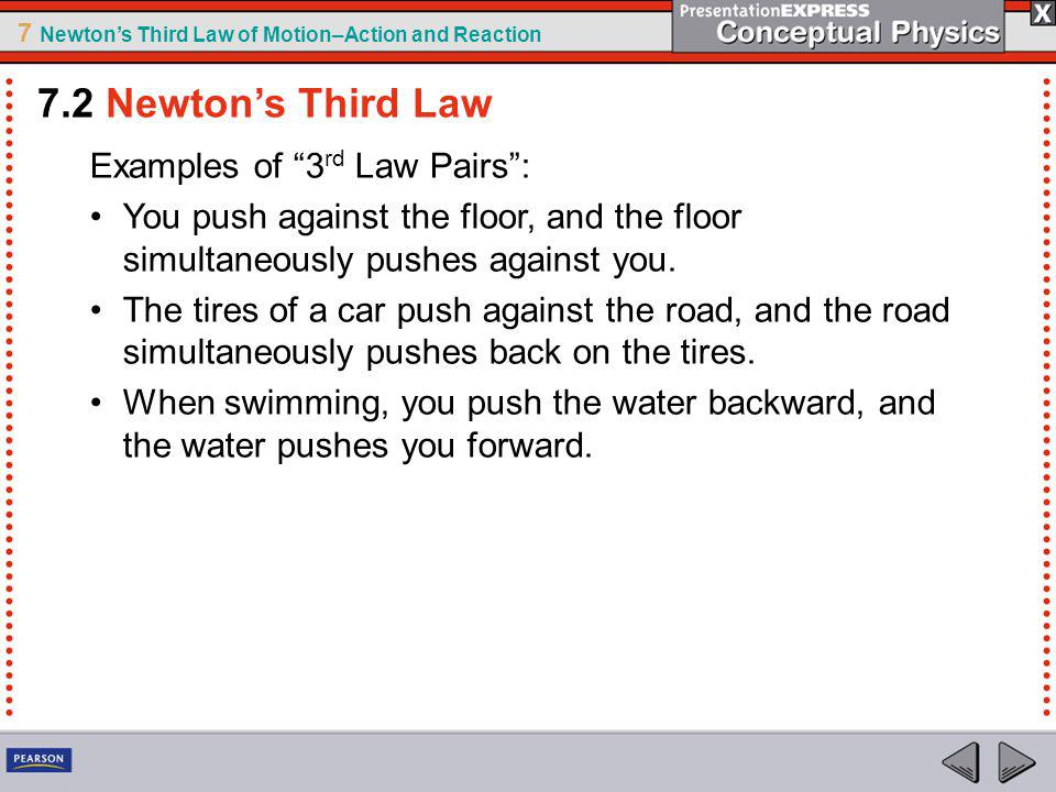 7.2 Newton's Third Law Examples of 3rd Law Pairs :