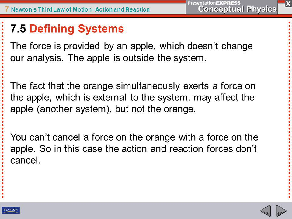 7.5 Defining Systems The force is provided by an apple, which doesn't change our analysis. The apple is outside the system.