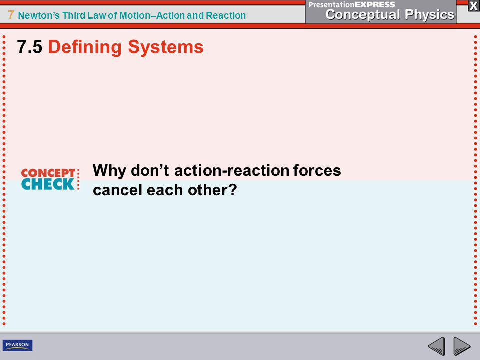 7.5 Defining Systems Why don't action-reaction forces cancel each other