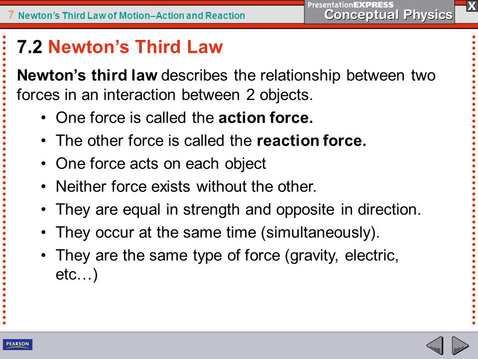 7.2 Newton's Third Law Newton's third law describes the relationship between two forces in an interaction between 2 objects.