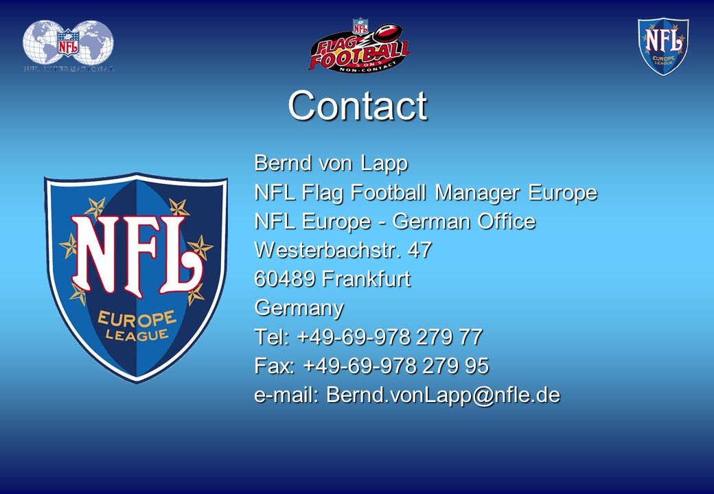 Contact Bernd von Lapp NFL Flag Football Manager Europe