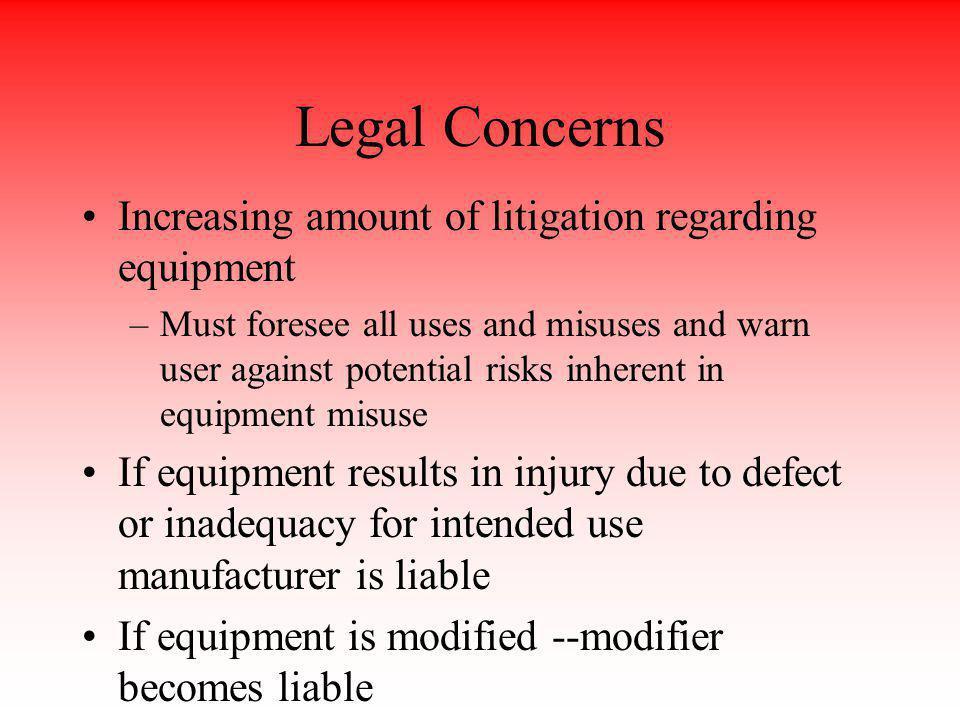 Legal Concerns Increasing amount of litigation regarding equipment
