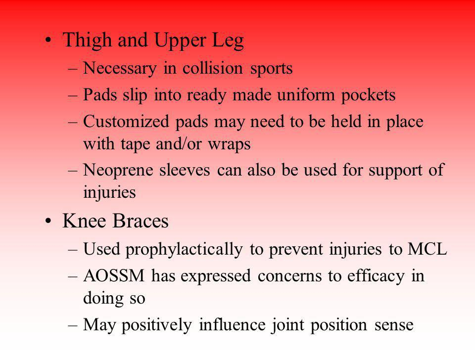 Thigh and Upper Leg Knee Braces Necessary in collision sports