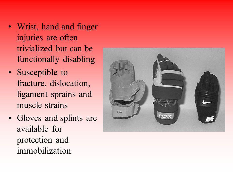 Wrist, hand and finger injuries are often trivialized but can be functionally disabling