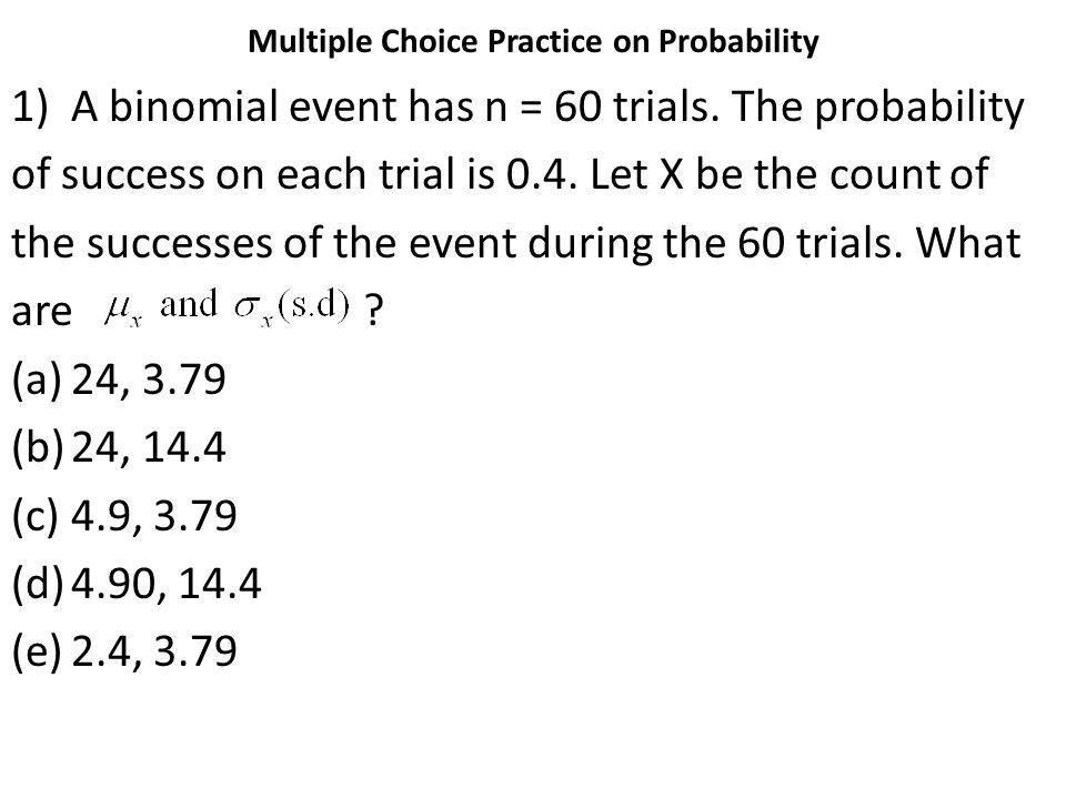 Multiple Choice Practice on Probability