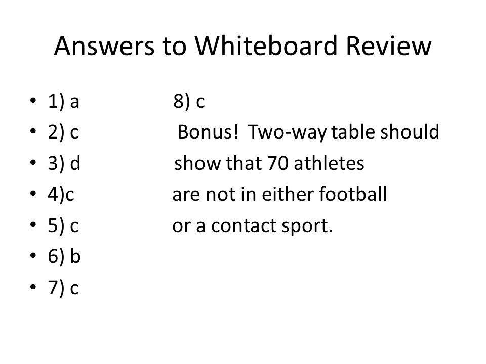 Answers to Whiteboard Review