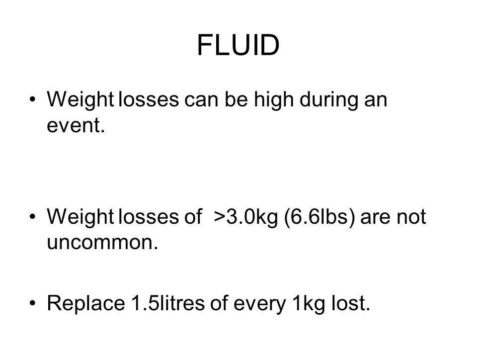 FLUID Weight losses can be high during an event.