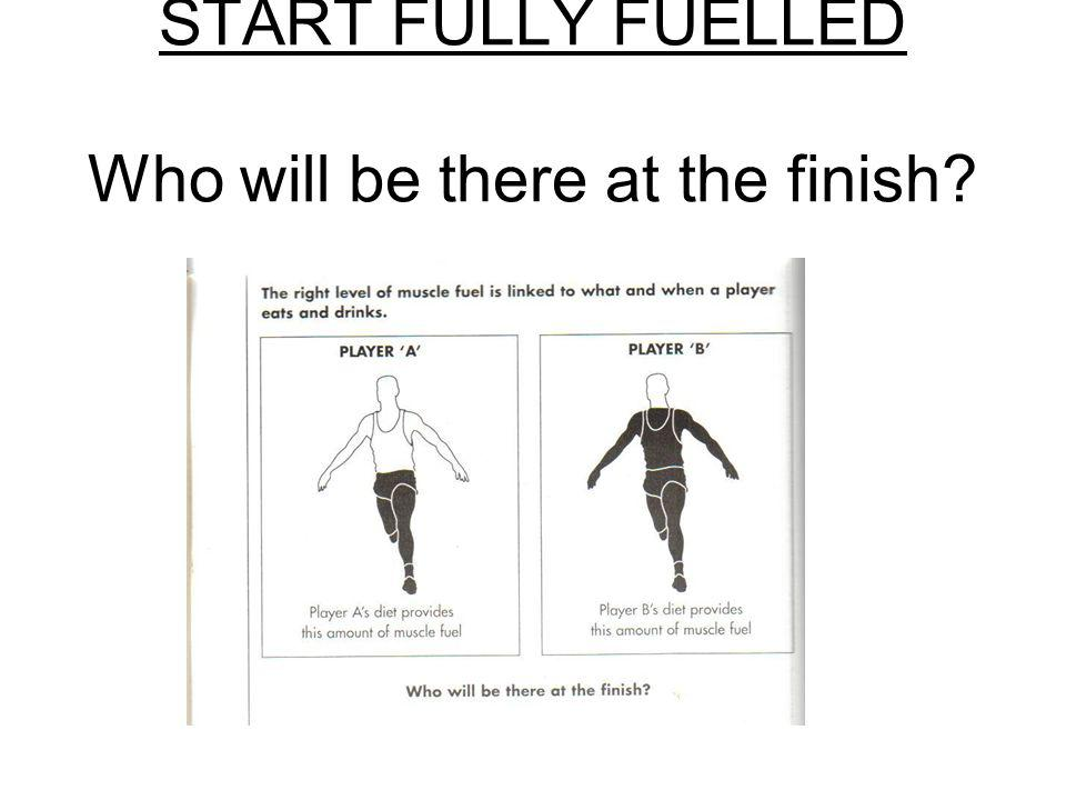 START FULLY FUELLED Who will be there at the finish