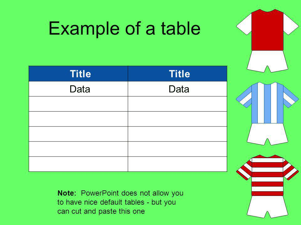 Example of a table Title Data