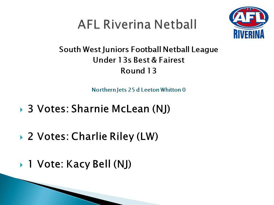 AFL Riverina Netball 3 Votes: Sharnie McLean (NJ)