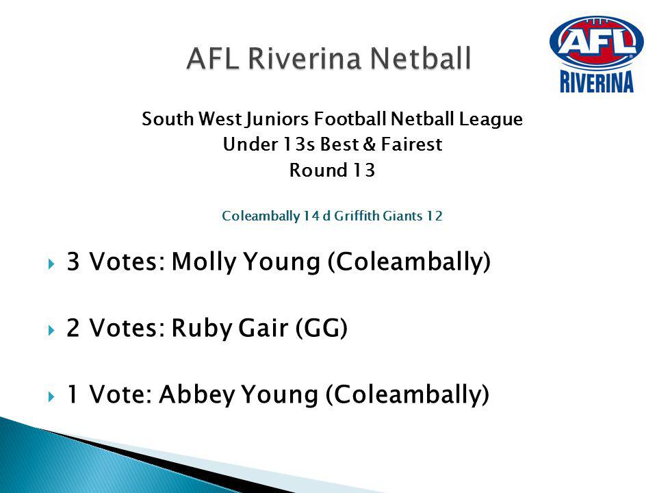 AFL Riverina Netball 3 Votes: Molly Young (Coleambally)