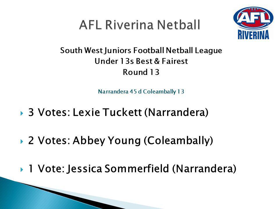 AFL Riverina Netball 3 Votes: Lexie Tuckett (Narrandera)
