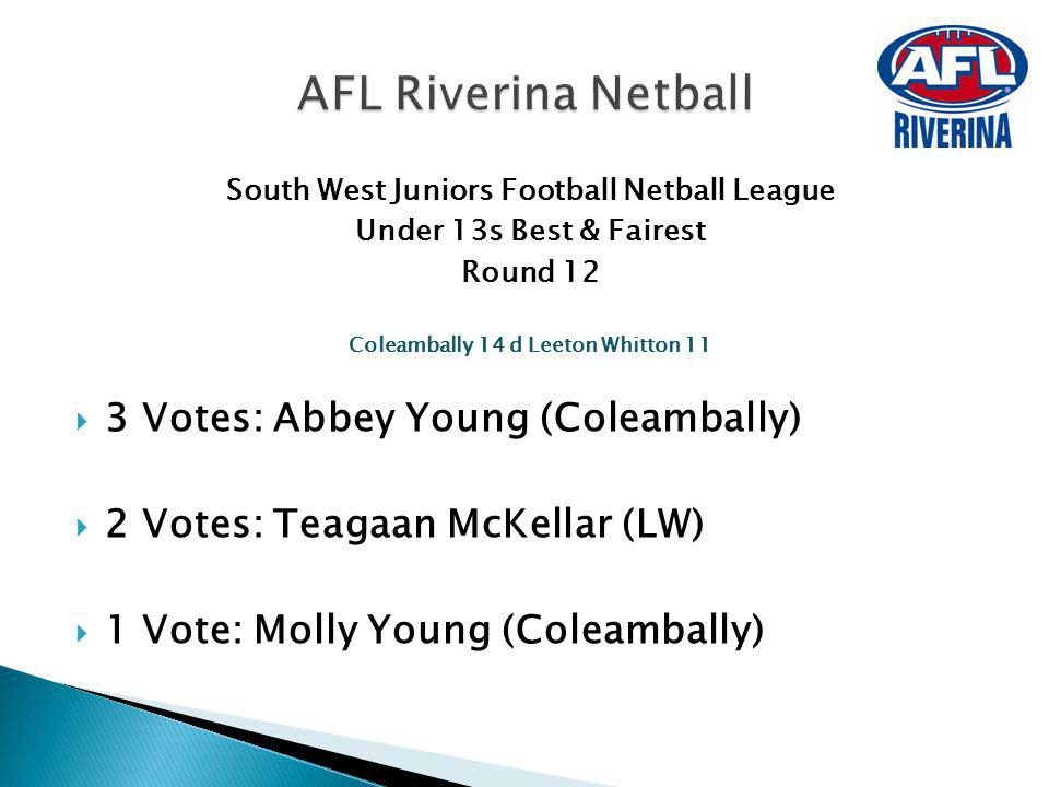 AFL Riverina Netball 3 Votes: Abbey Young (Coleambally)