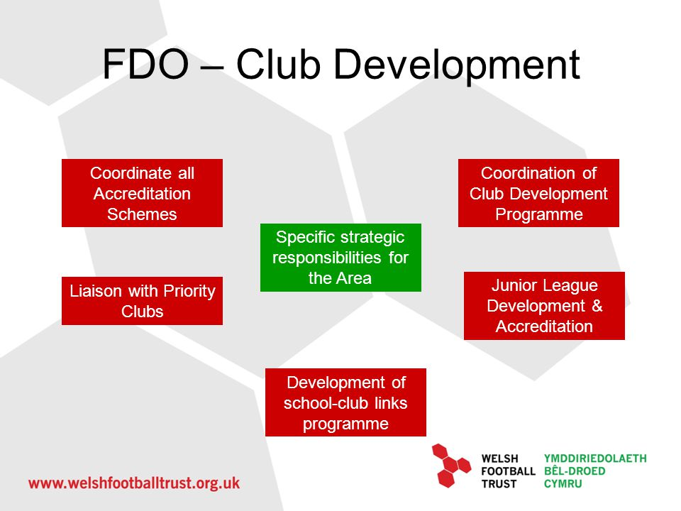FDO – Club Development Coordinate all Accreditation Schemes