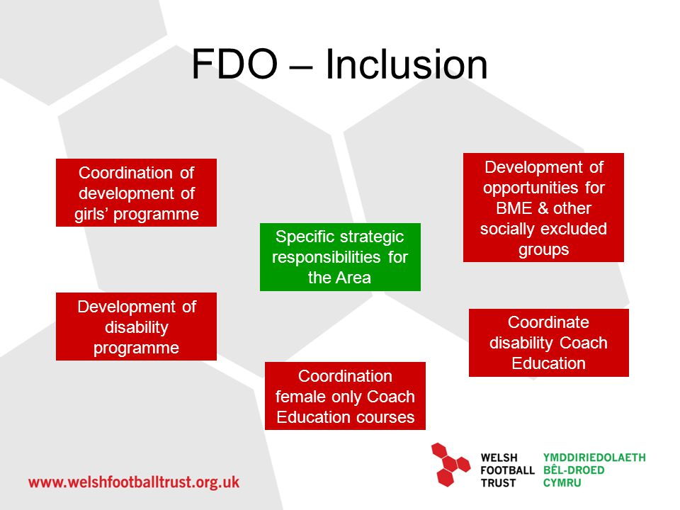 FDO – Inclusion Development of opportunities for BME & other socially excluded groups. Coordination of development of girls' programme.