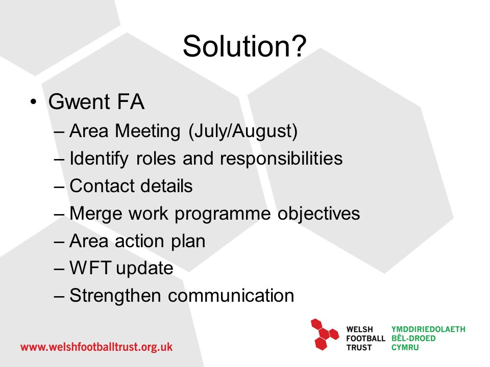 Solution Gwent FA Area Meeting (July/August)