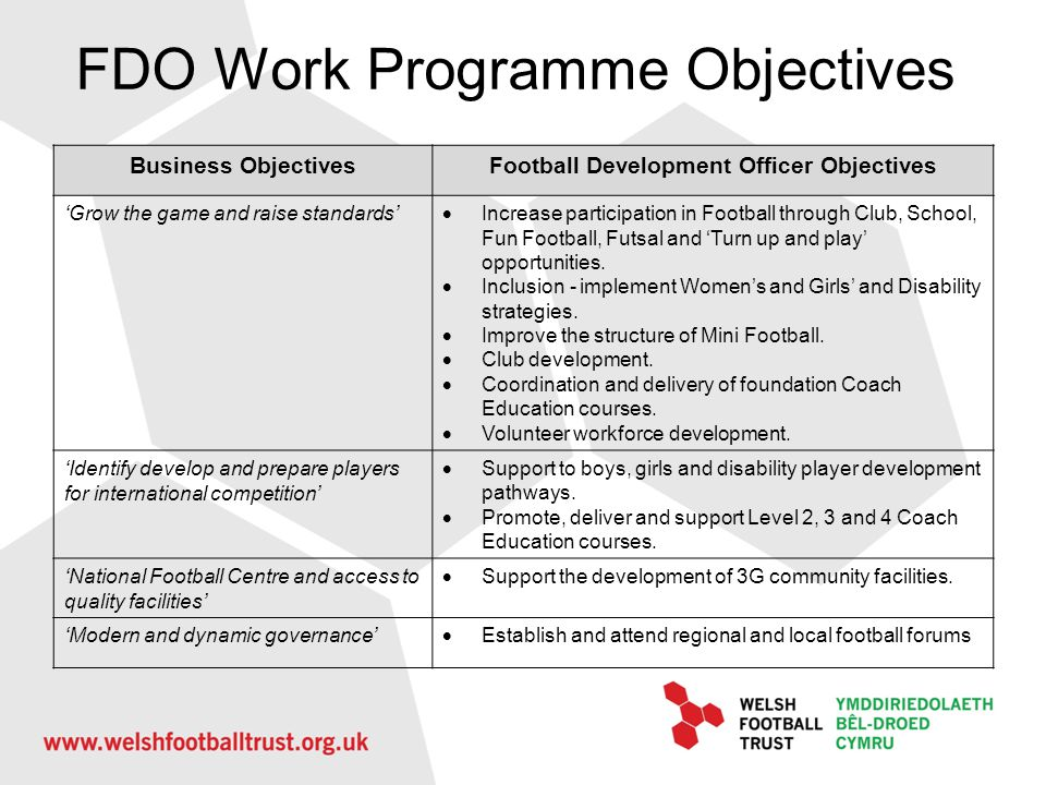 FDO Work Programme Objectives